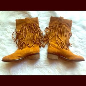 Lucky Brand Suede Fringe Boots